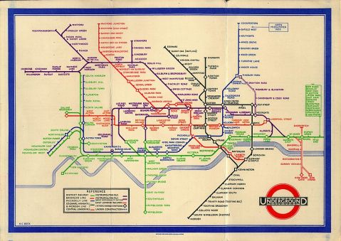 Harry Beck's original diagram of the London Underground