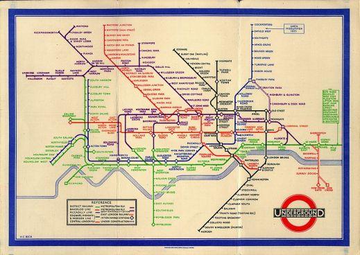 Harry Beck's original diagram of the London Underground