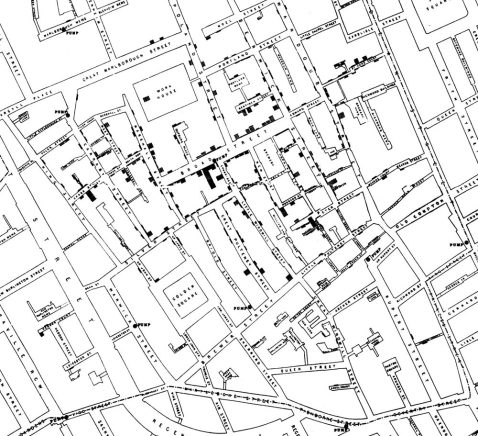 John Snow's map of cholera deaths in Soho