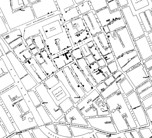 John Snow's map of cholera deaths in Soho